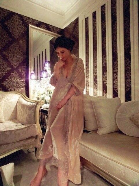 free shipping 2015 new winter womens princess velvet pajamas pants set naked pink sleepwear home cloth - Pink Home 2015