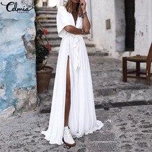 Summer Women Maxi Long Dress 2020 Celmia Sexy V Neck Elegant Floor-length Party