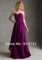 20425 Free Shipping A-line Sweetheart Chiffon Floor Length Long Bridesmaid Dresses Purple Wedding Party Dresses 2014