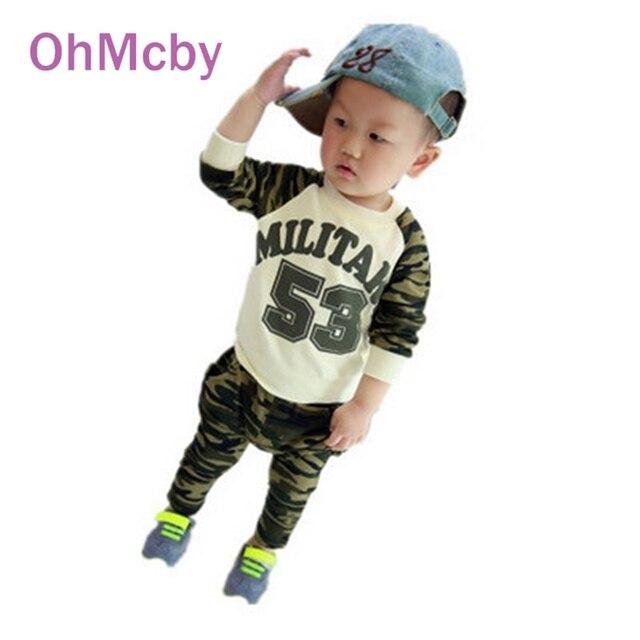 OhMcby Дети Мальчики Спортивная Одежда Устанавливает Infantil Новорожденных Армия Футболки Брюки Мальчиков Одежда Костюмы Весна Дети Треков