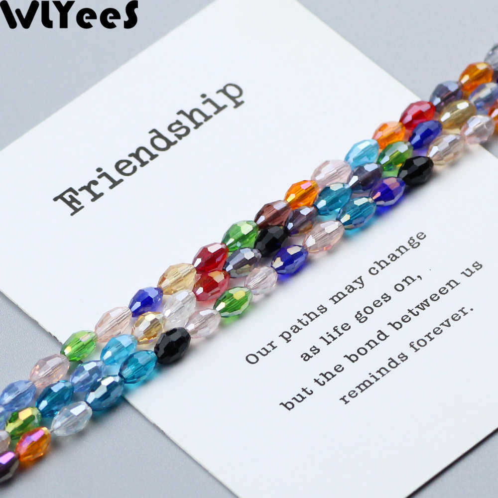 WLYeeS 4*6mm Austrian Mix Color Oval Glass Beads Small Loose Faceted Space Crystal Rice Beads for Jewelry Making DIY Accessories