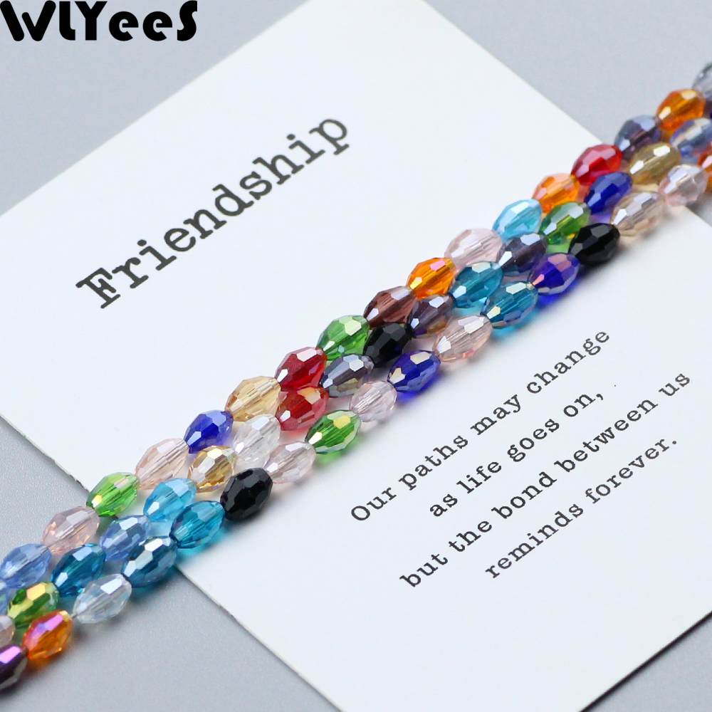 WLYeeS 4*6mm Austrian Mix Color Oval Glass Beads Small Loose Faceted Space Crystal Rice for Jewelry Making DIY Accessories