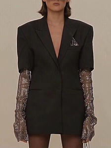 TWOTWINSTYLE Blazer Coat Clothing Patchwork Diamond Long-Sleeve Female Elegant Fashion