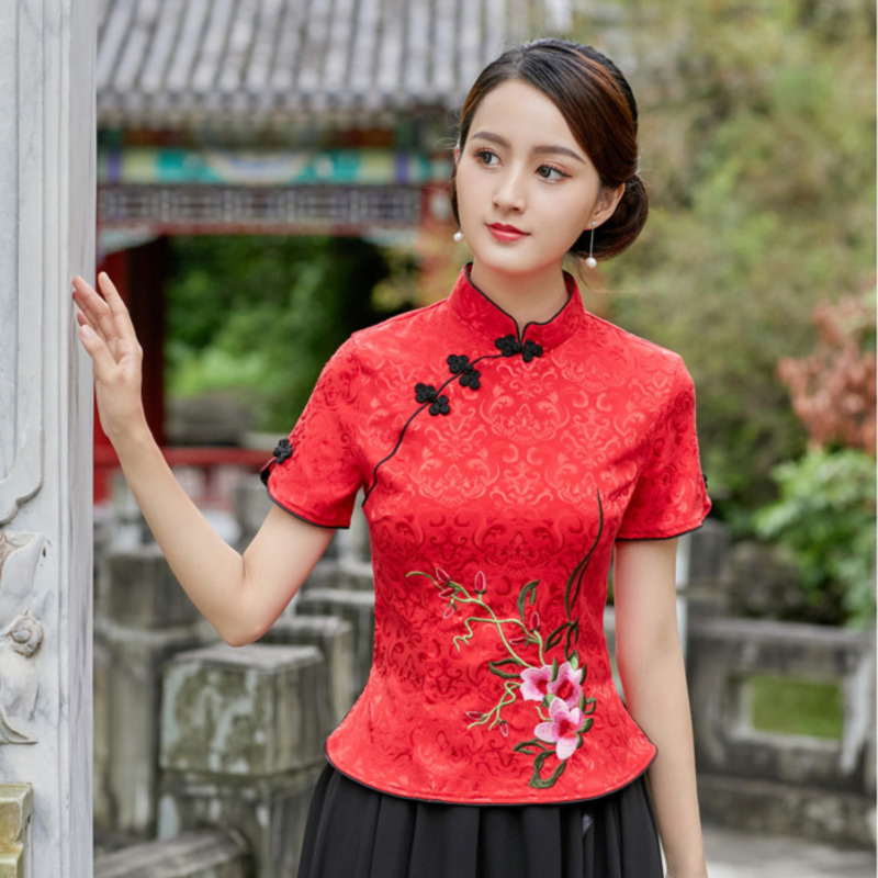 Sheng Coco 4XL Jacquard Cotton Camisa China Mujer Chinese Style Embroidery Cotton  Cheongsam Blouse Women Qipao Shirts Red Pink