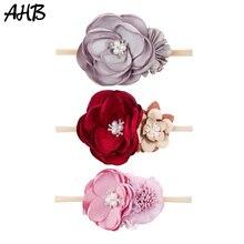 AHB Pearl Artificial Flowers Nylon Headband for Baby Girl Newborn Elastic Princess Hairband Wrap Photography Props Headwear Gift