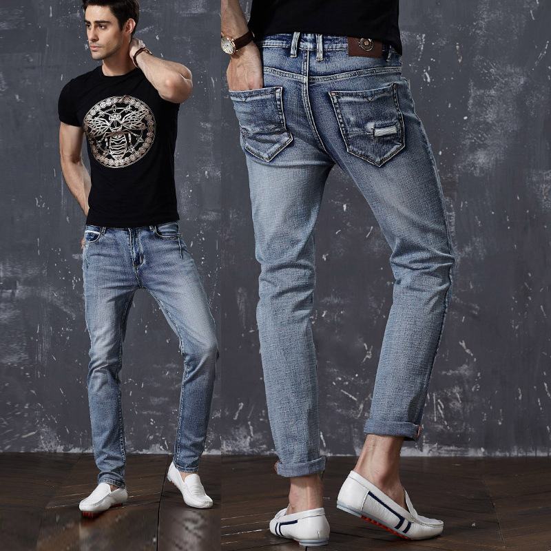 The new 2018 Summer jeans mens feet stretch cultivate ones morality pants Thin skinny young pencil pants tide