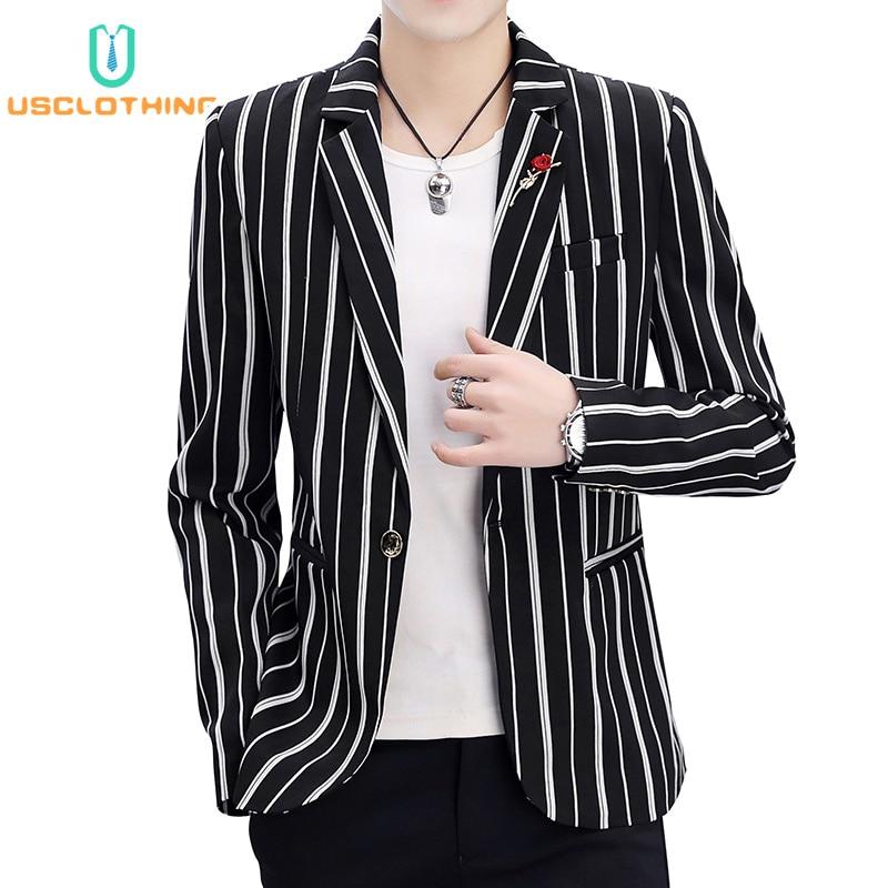 Men Blazer Jackets Fashion Stripe Print Slim Casual Blazers Jackets Suit Jacket Coat Business Suit Men Casaco Masculino