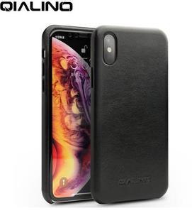 Image 4 - QIALINO funda de teléfono de cuero genuino medio envuelto para Apple iPhone X/XS/XR, cubierta trasera hecha a mano ultrafina de lujo para iPhone XS Max
