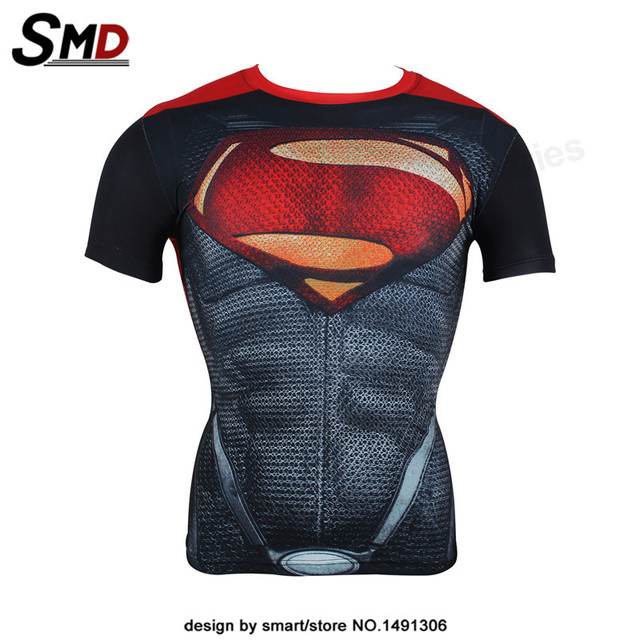 3D Superhero Superman Compression T-Shirt Bodybuilding Plus size
