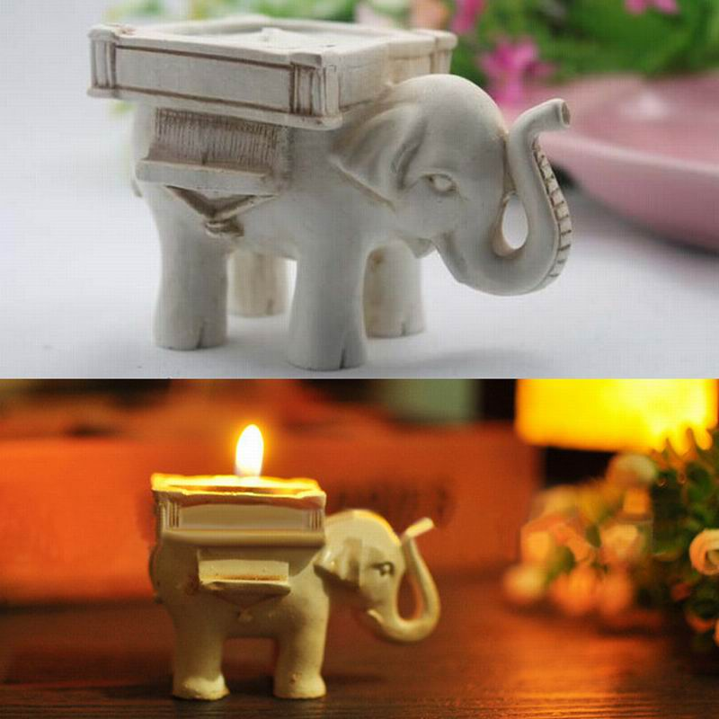 Free Shipping Wholesale 100pcs Wedding Favors Of Lucky Elephant Antique Ivory Candle Holder With Real