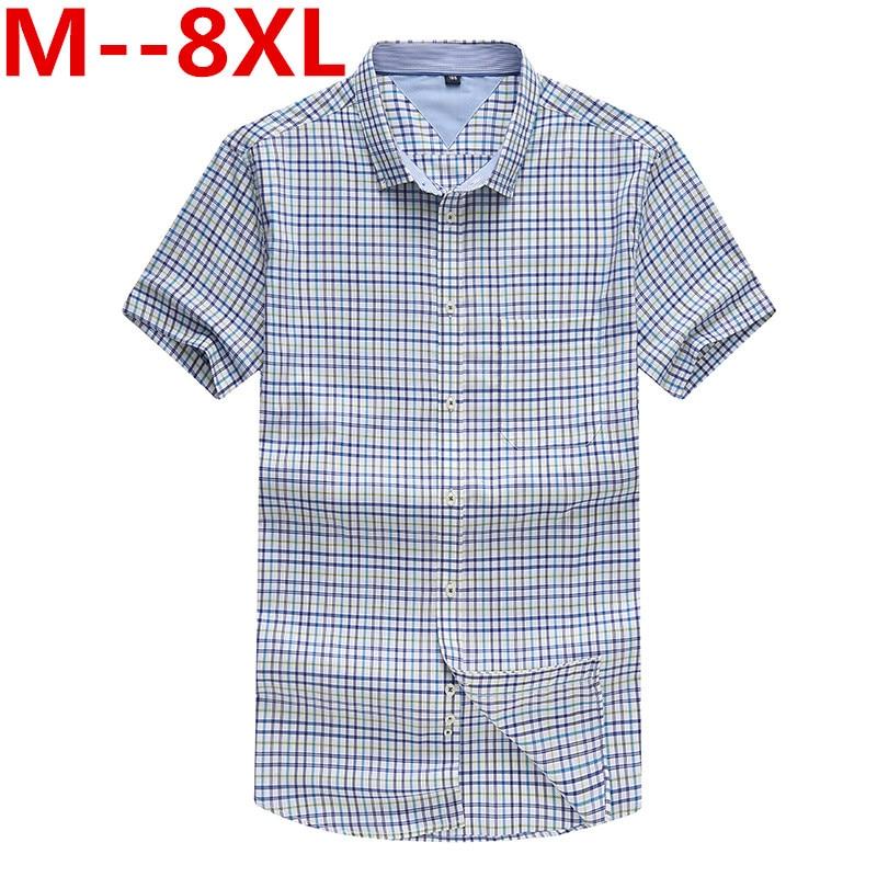 Large big size 10XL 8XL 6XL 5XL Men's Short Sleeve Cotton Social Shirts Plaid Checked Shirt for Men Brand Chothing Plus size 4XL