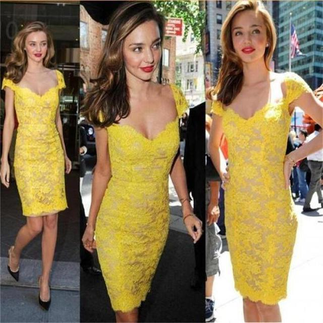 Yellow Lace Knee Length Cocktail Dresses Free Shipping Party Formal