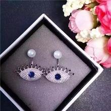 2017 AAA Circón de pestañas Azul ojos de piedra aretes de cristal para las mujeres de joyería de moda famoso diseño