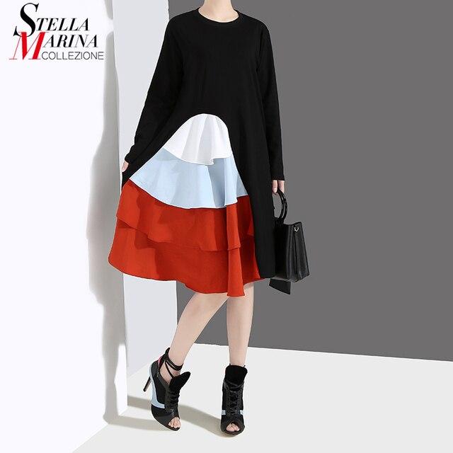 Robe automne à manches longues, Style coréen, noir pour Femme, à volants en cascade, Patchwork, 2020, décontracté