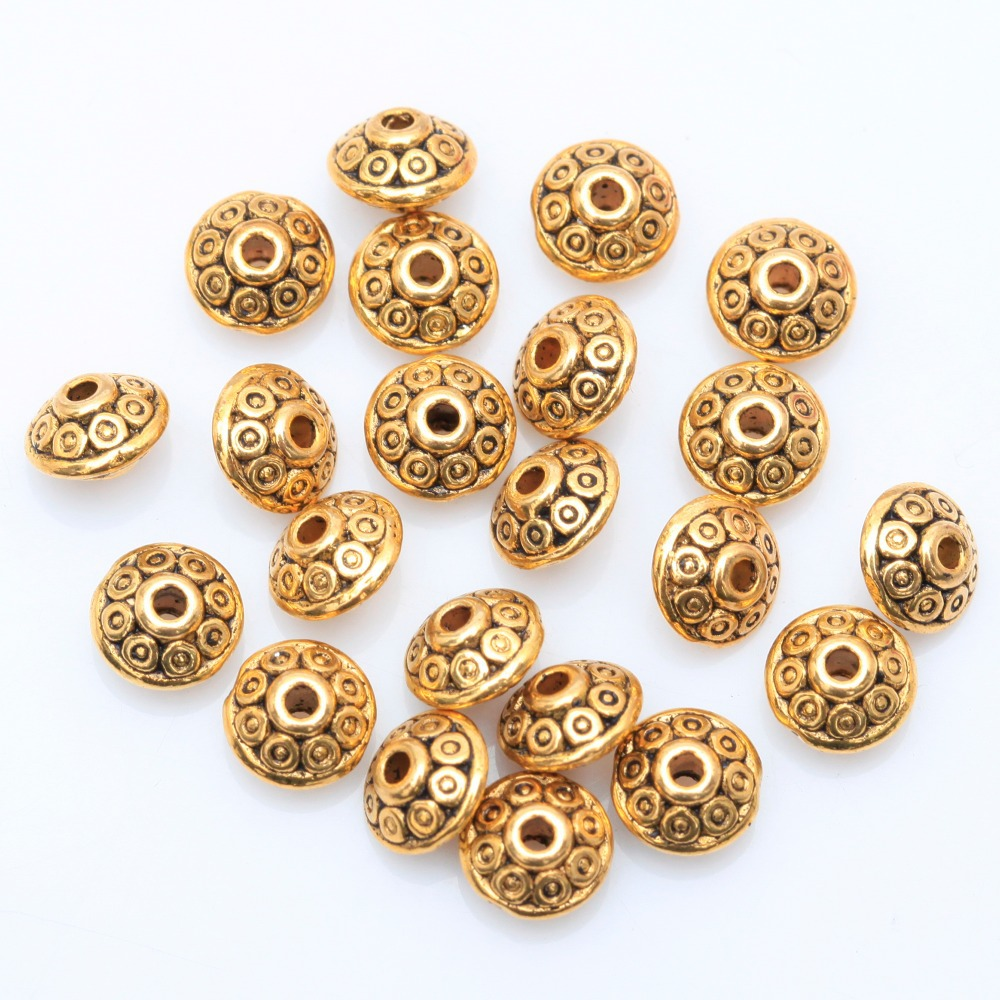 Factory Price 100pcs/lot Spacer Metal Beads Antique Metal Silver Spacer Beads Gold Cone pattern 6mm for Jewelry Making Wholesale