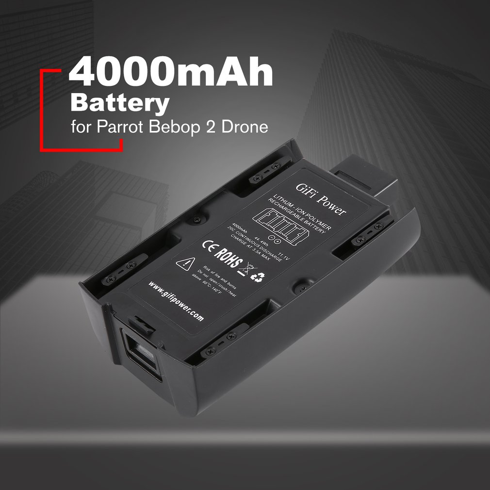 Lightweight High Capacity 4000mAh 11.1V Rechargeable Battery Lipo Battery for Parrot Bebop 2 RC Drone AccessoriesLightweight High Capacity 4000mAh 11.1V Rechargeable Battery Lipo Battery for Parrot Bebop 2 RC Drone Accessories