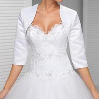 Custom Made White In The Sleeve Wedding Jacket New Arrival Satin Bolero Jackets For Evening Dresses