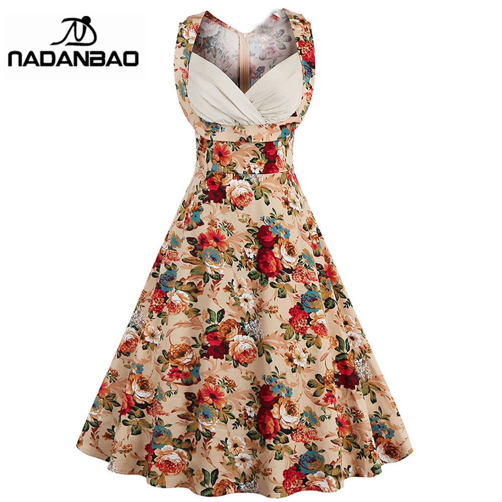Buy Cheap NADANBAO Women Dress Cotton Summer Vestidos Mujer Khaki Printing Women Party Dress Classic Plus Size Floral Dress