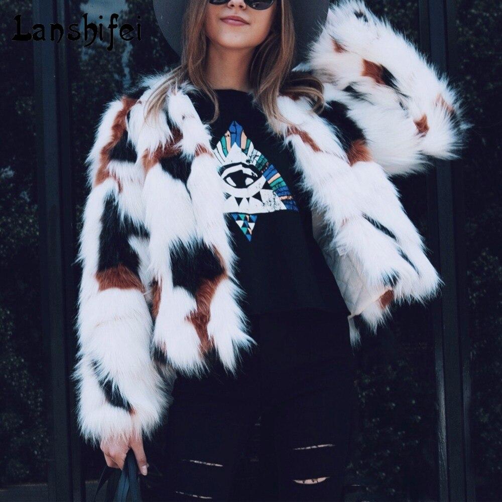 Chic doux fausse fourrure manteau femmes moelleux chaud mélange couleur à manches longues vêtements de dessus pour femmes noir élégant automne hiver poilu pardessus