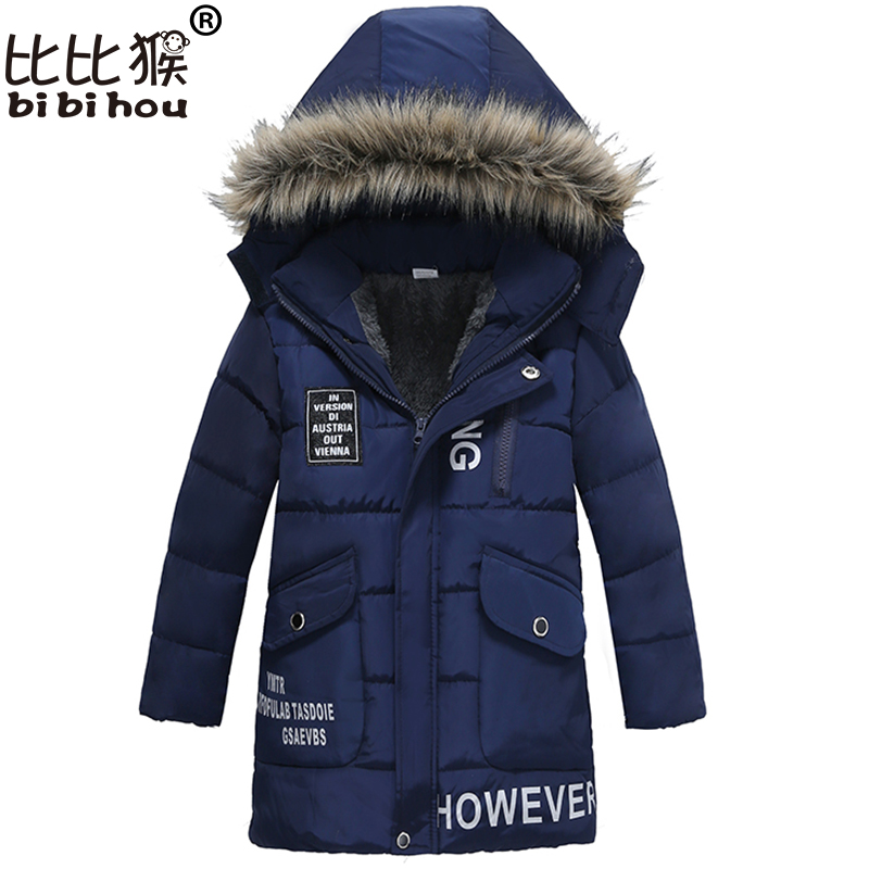 Bibihou Boys Clothes New 2017 Winter Long Boys Coats Children's Cotton Clothing Full Sleeve Coat Hooded Down Jackets For Kids