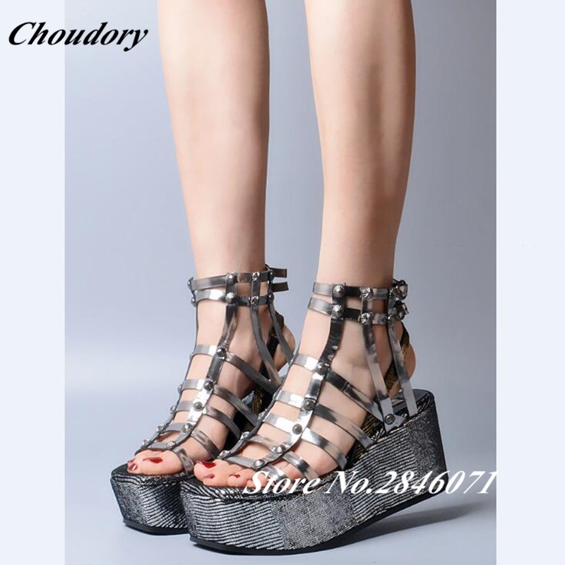 2017 Summer New Rivet Wedges Sandals Creepers Women High Heel Platform Casual Shoes Silver Women Gladiator Sandals Zapatos Mujer 2017 summer new rivet wedges sandals creepers women high heel platform casual shoes silver women gladiator sandals zapatos mujer