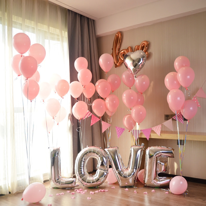 Silver Wedding Love Letter Foil Balloons Pink Latex Balloons For