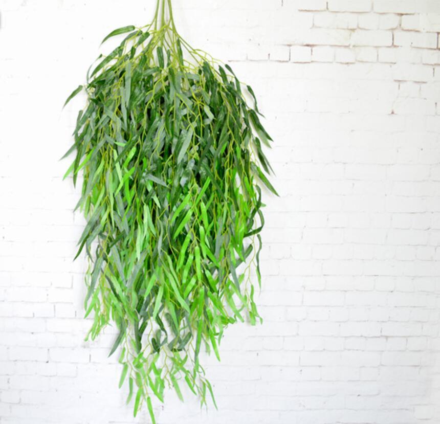 12 шт. 90 см Искусственный ивы листьев филиал для растений фоне стены Свадебный дом Hotal Офис Бар декоративные