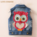 Girls Clothing Coat 2017 Autumn New Girls Clothes Fashion Denim Vest Sequined Owl Jacket Kids Clothes