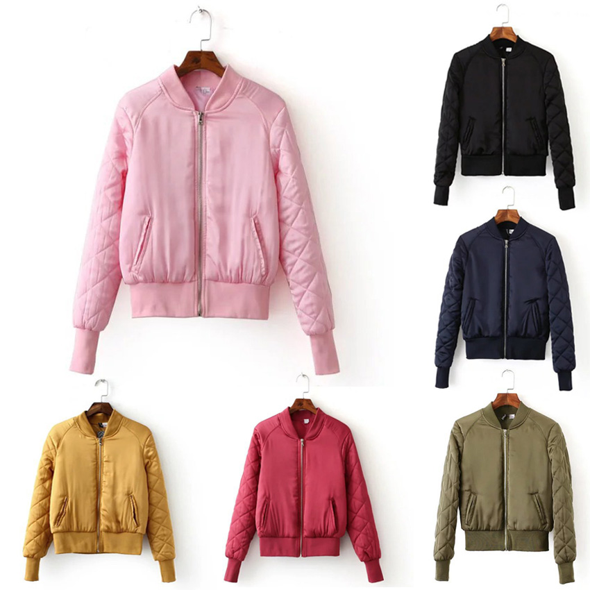 Candy Colors V Neck Quilting Quilted Jacket Short Thin Padded ...