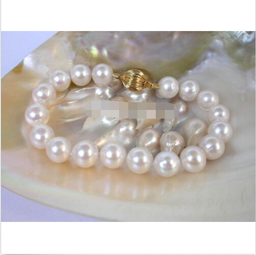 Super bracelet 10 mm blanc perles d'eau douce bracelet @ ^ Noble style fin naturel jewe de la livraison gratuite