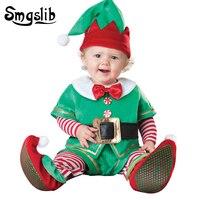 Baby christmas clothes deer santa claus costumes kids baby onesies newborn plush jumpsuit baby onesie first birthday boy party