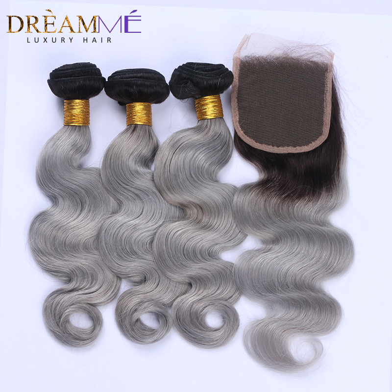 1b green human hair extension with lace closure (2)