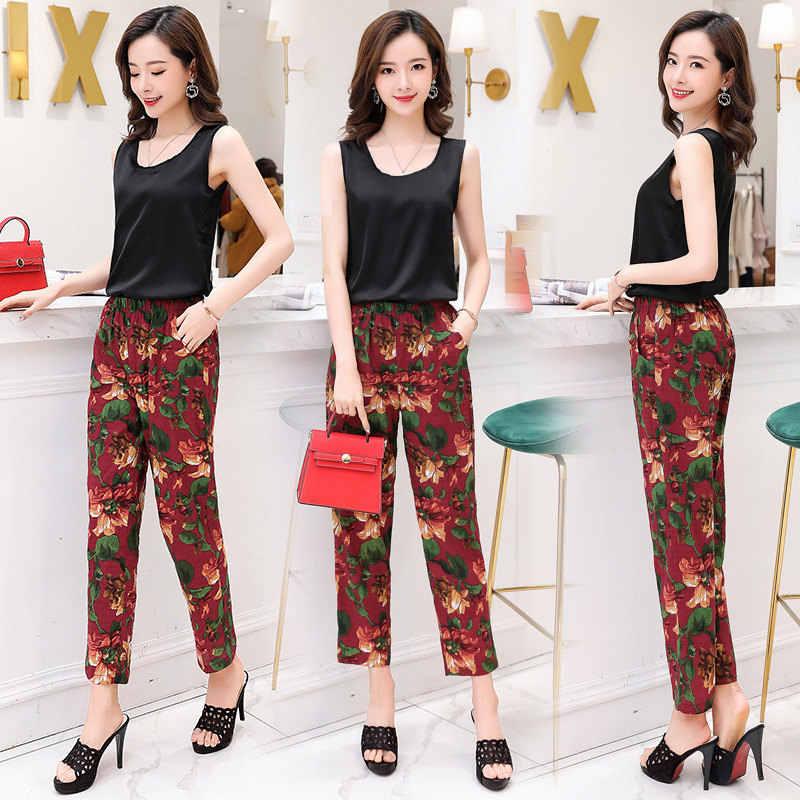 660aeca191 ... Casual Women Trousers 2019 Summer Ankle-Length Harem Pants Fashion  Striped Print Cotton Linen Elastic ...