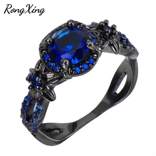 Stylish Blue Stone Vintage Flower Wedding Rings For Women Fashion