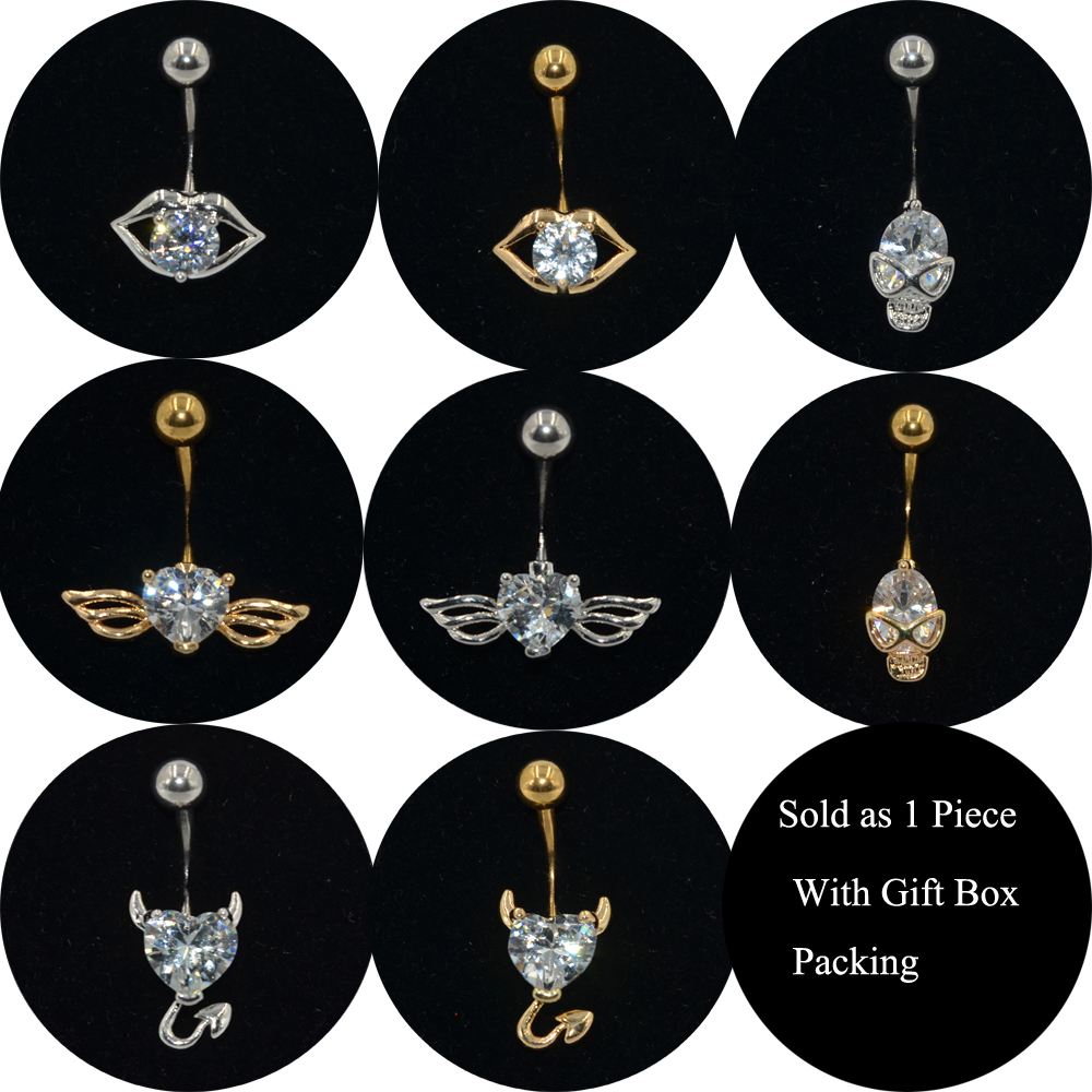 Sold by Piece Classic Cross 316L Surgical Steel Freedom Fashion Belly Button Ring