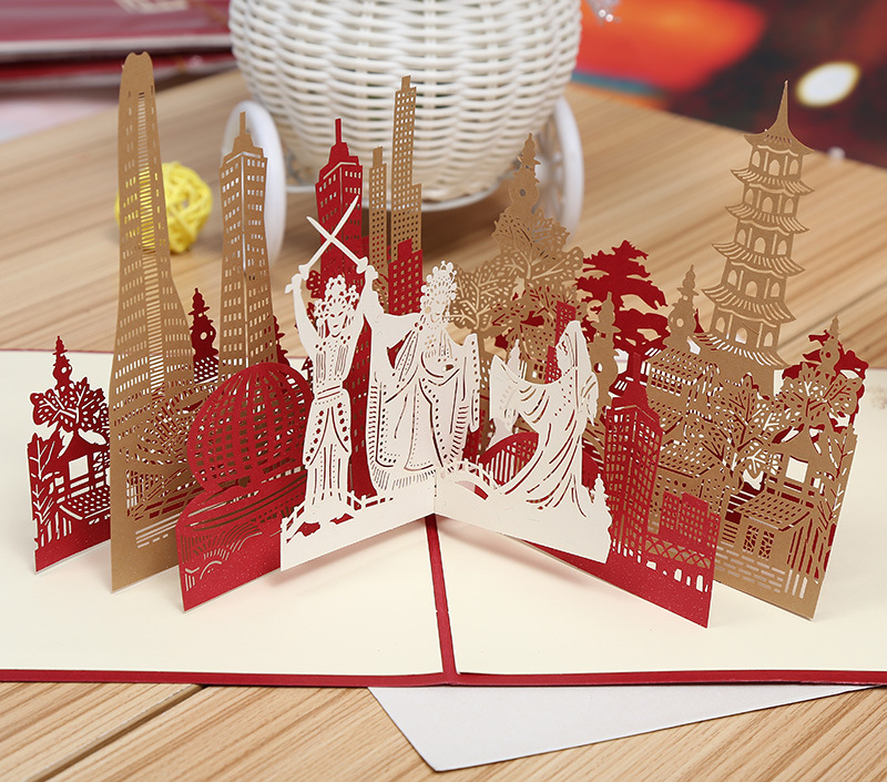 Hangzhou City silhouette manufacturers selling 3D stereo hollow building DIY cards handmade cards can be customized riggs r hollow city