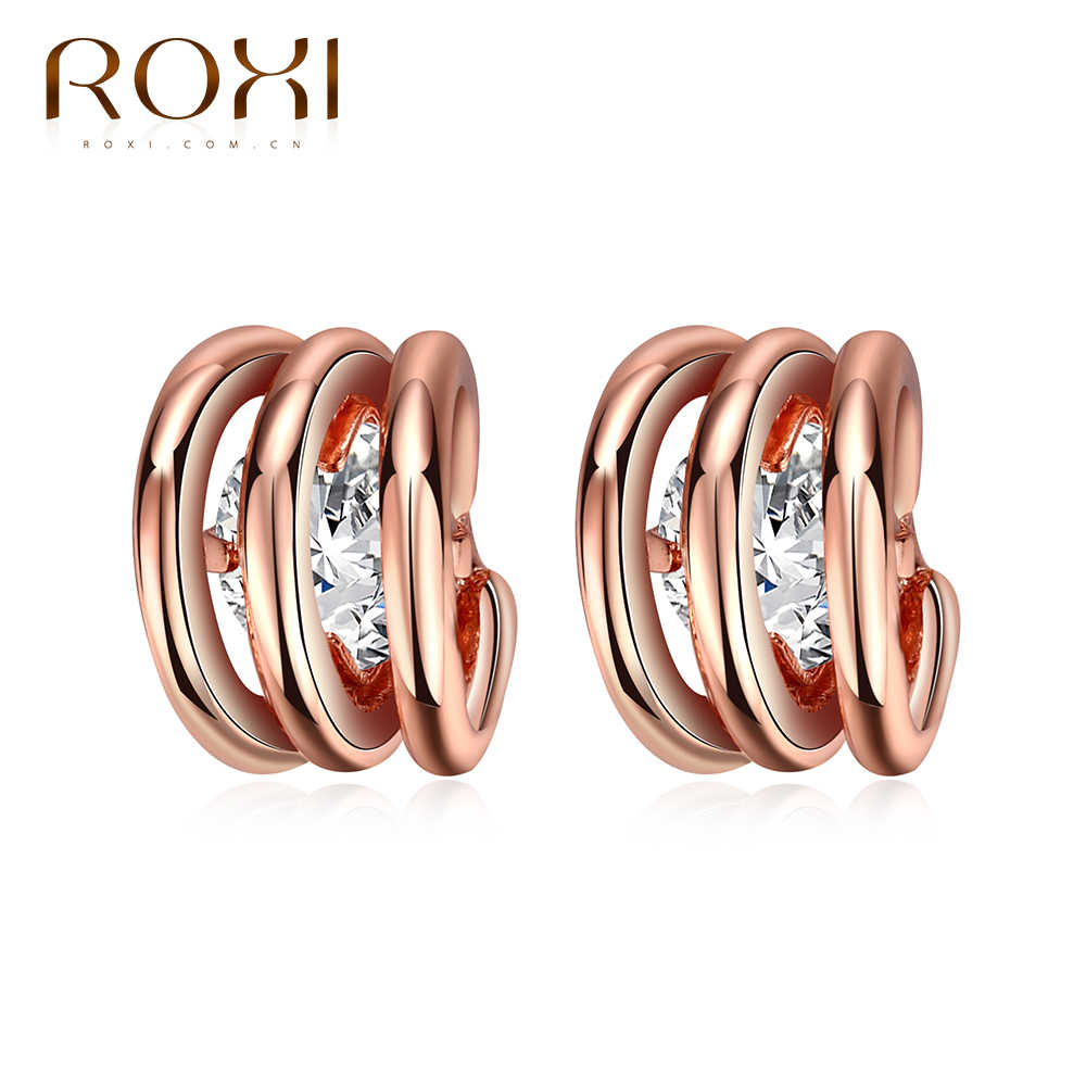 61ef1fac1 ROXI Brand Zircon Circle Earring Rose Gold Color CZ Stud Earring for Women  Jewelry Charm Online