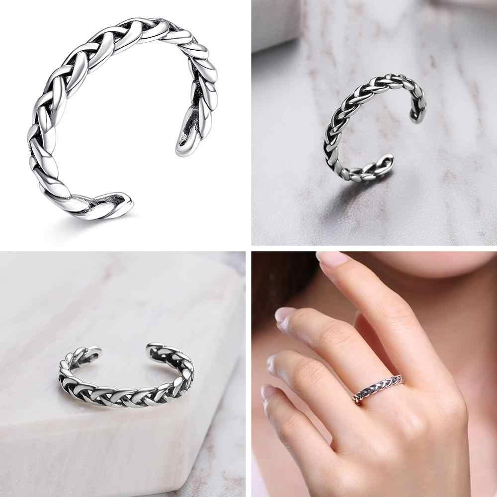 LicLiz 925 เงินสเตอร์ลิงเพิร์ล Braided เปิดแหวนผู้หญิง Punk ปรับ Twisted แหวนปีใหม่ของขวัญเครื่องประดับ Anillos LR0279