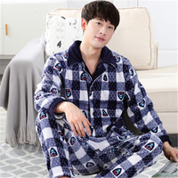 Fashion Casual Men S Sleepwear Men Winter Pajamas Sets Coral Fleece Plus Velvet Thick Warm Sleep