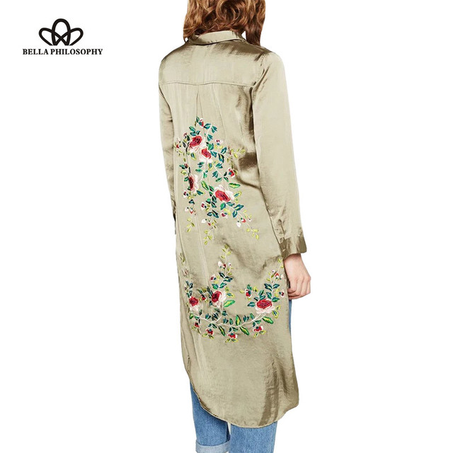 Bella Philosophy 2016 summer new women's flower embroidery long sleeve long blouse shirt green