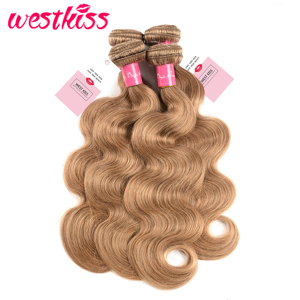 Westkiss Colored #27 Blonde Bundles With Closure Honey Blonde Body Wave Bundles With Closure Bleached Hair Remy Human Hair Weave Human Hair Weaves Hair Extensions & Wigs