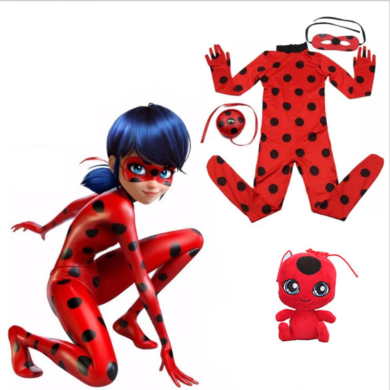 Ladybug Girl clothes Miraculous Kids Marinette Cartoon Second Skin Halloween Party costumes Suit cosplay costumes+mask+bag+toy