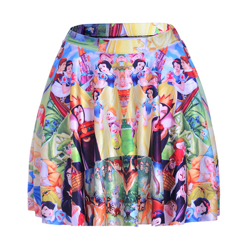 1152 Summer Women Plus Size Pleated Mini Skater Skirt Sexy Girl Cheerleader Tutu Skirt Cartoon Snow White Queen Witch Prints Curing Cough And Facilitating Expectoration And Relieving Hoarseness