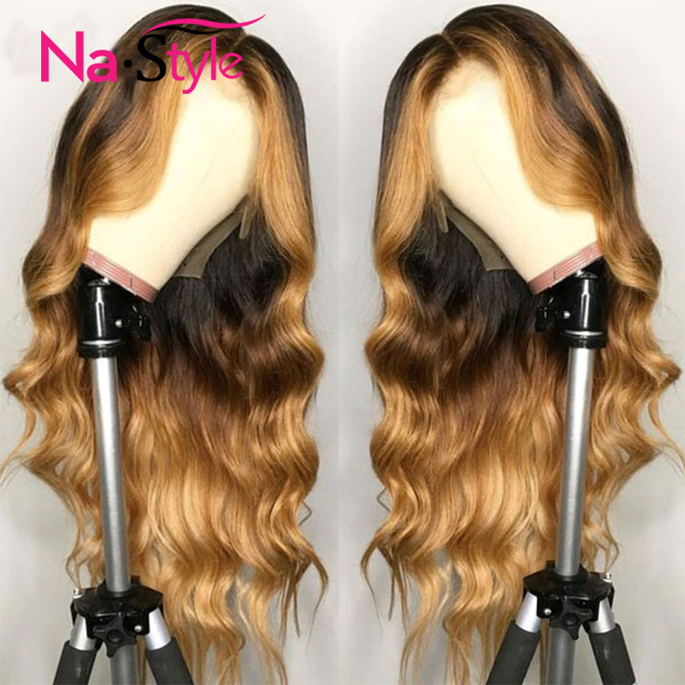 Ombre Human Hair Wig Honey Blonde Lace Front Wigs Colored 13x6 Lace Front Human Hair Wigs Wavy Highlights Preplucked Lace Wigs