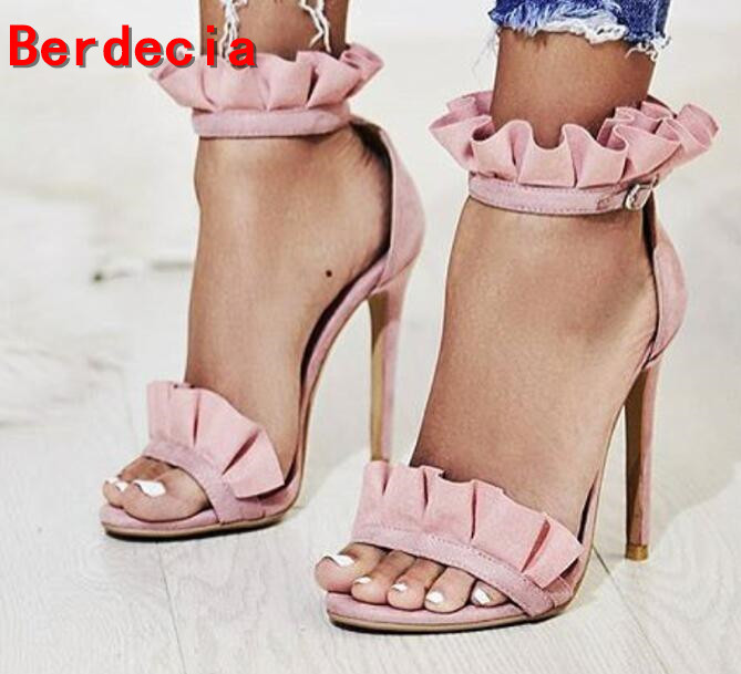 ФОТО Hot Selling Pink Suede High Heel Shoes Beautiful Ruffles Open Toe Sexy Sandal 2017 Summer Ankle Strap Woman Sandal