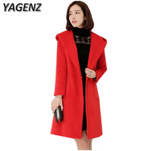 YAGENZ Winter Woolen Women Jacket 2017 Korea Slim Elegant Long Outerwear Plue size Solid Warm Hooded