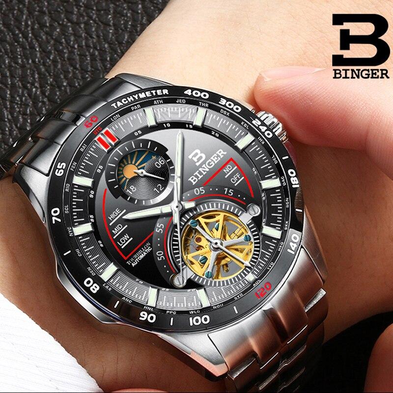 Suisse BINGER montre hommes de luxe marque hommes montres Tourbillon automatique mécanique horloge saphir squelette montre reloj hombre