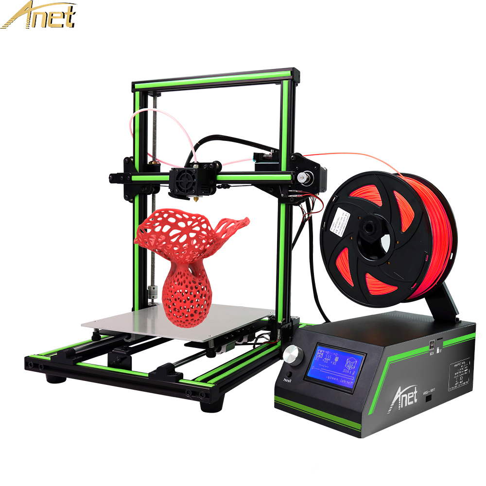 New Anet E10 Desktop 3d printer Aluminum Frame High precision Reprap 3D Printer DIY Kit Set Off-line Printing Free 10m Filament flsun 3d printer big pulley kossel 3d printer with one roll filament sd card fast shipping
