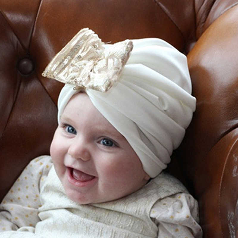 d2024f0a28a ... Bohemian Bow Baby Hat Cotton Elastic Spring Autumn Children Indian Style  Hat Newborns Photography Props Accessories ...