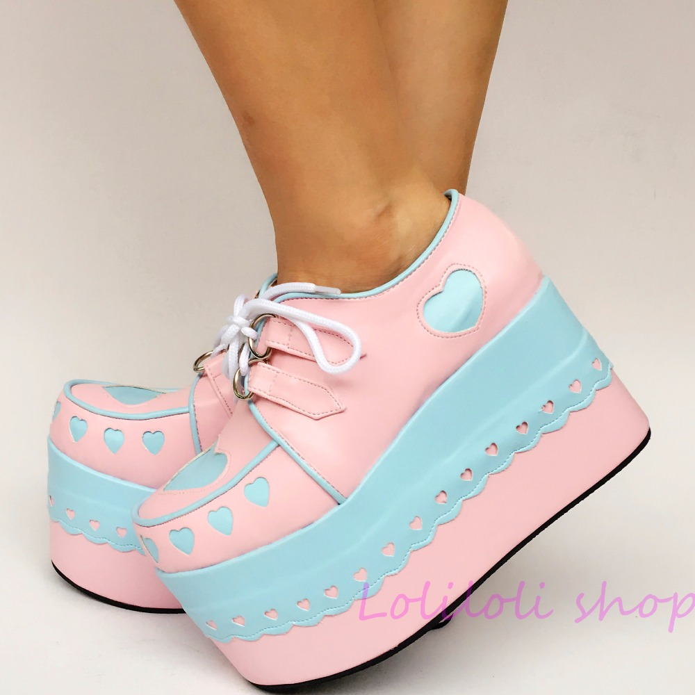 Princess sweet lolita shoes Japanese design customized special shaped shoes blue heart shaped pink platform shoes lace 1234 цена